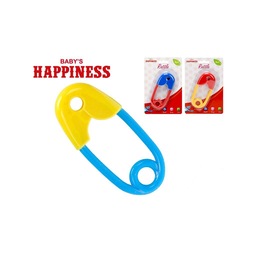 Hrkálka spínací špendlík 12cm Baby´s Happiness 3farby 0m+ na karte