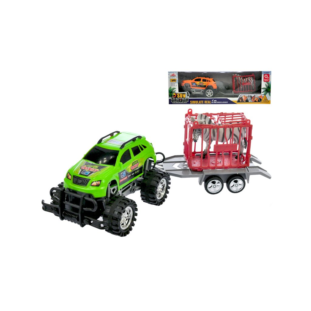 Auto terénne s vozíkom 39cm na zotrvačník s klietkou a zebrou 2farby v krabičke