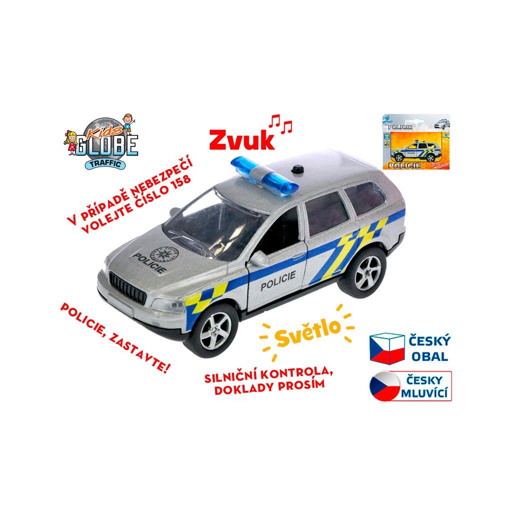 Auto polícia 11cm kov na spätný chod na batérie česky hovoriace so svetlom v krabičke