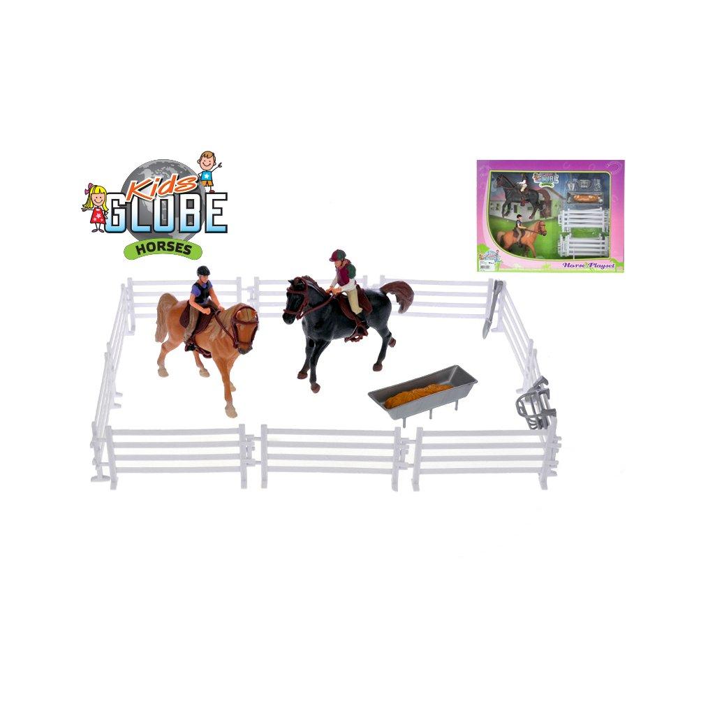 Kone s jazdcami 13cm 2ks s doplnky v krabičke