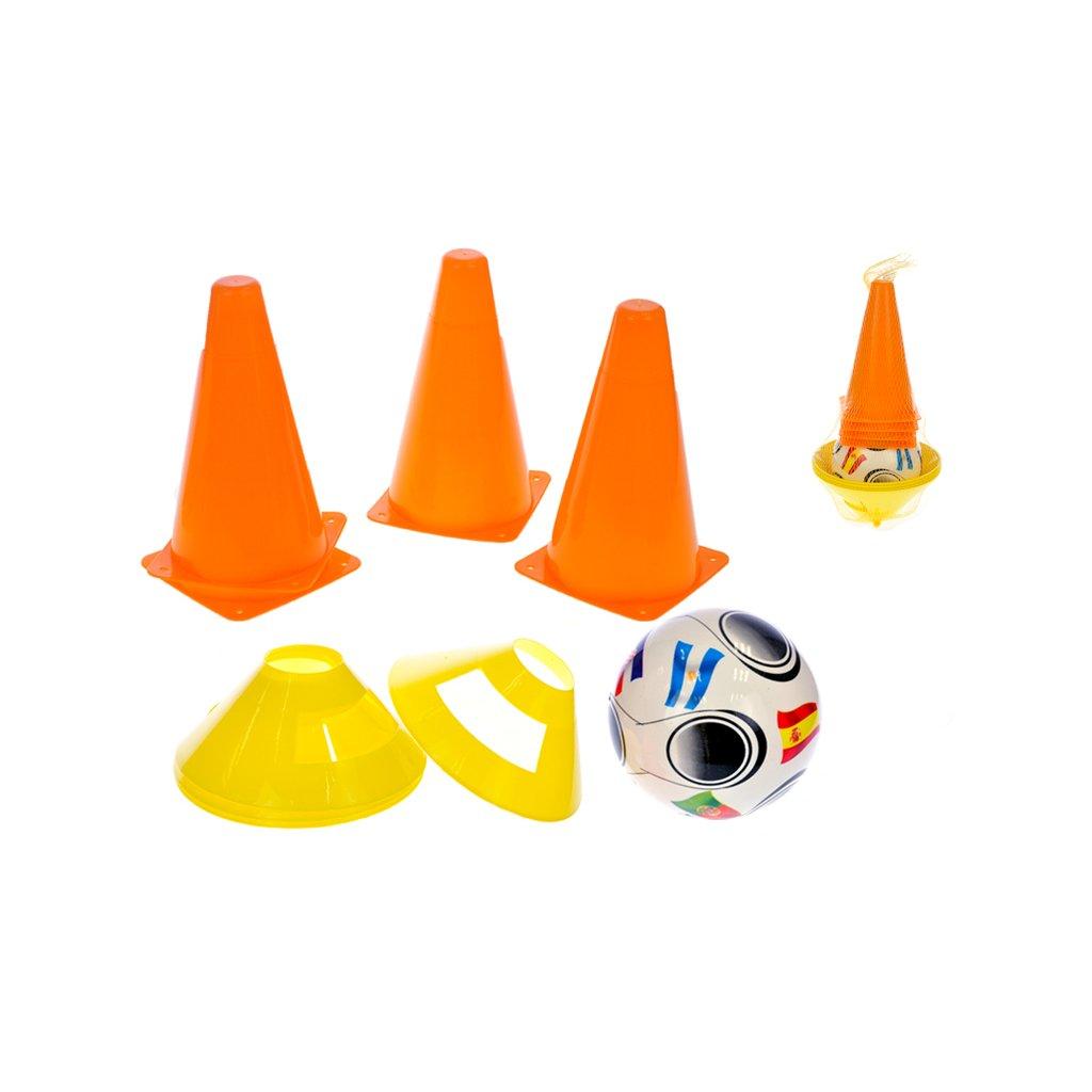 Futbalové kužele 18cm 4ks + méty 4ks s loptou 11cm 10m+ v sieťke