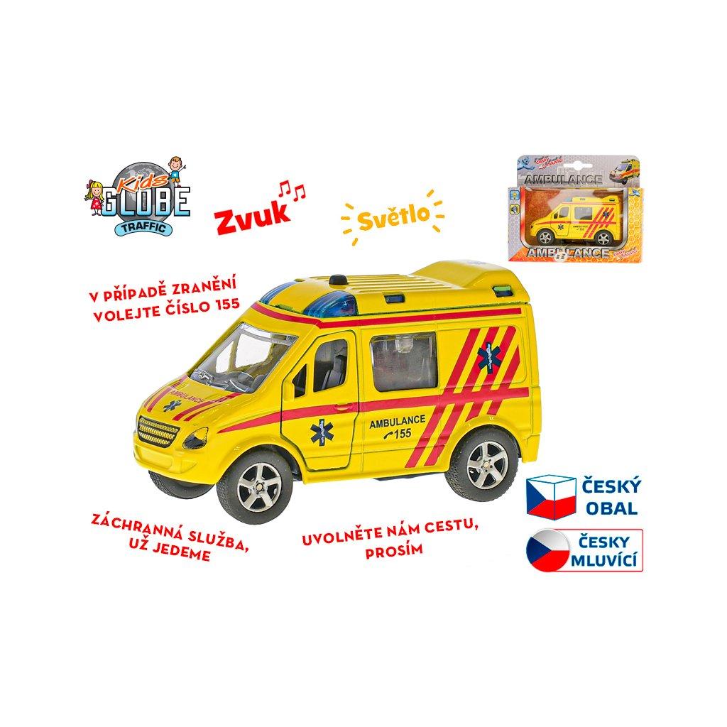 Auto ambulancia CZ 11cm kov na spätný chod na batérie česky hovoriace so svetlom v krabičke