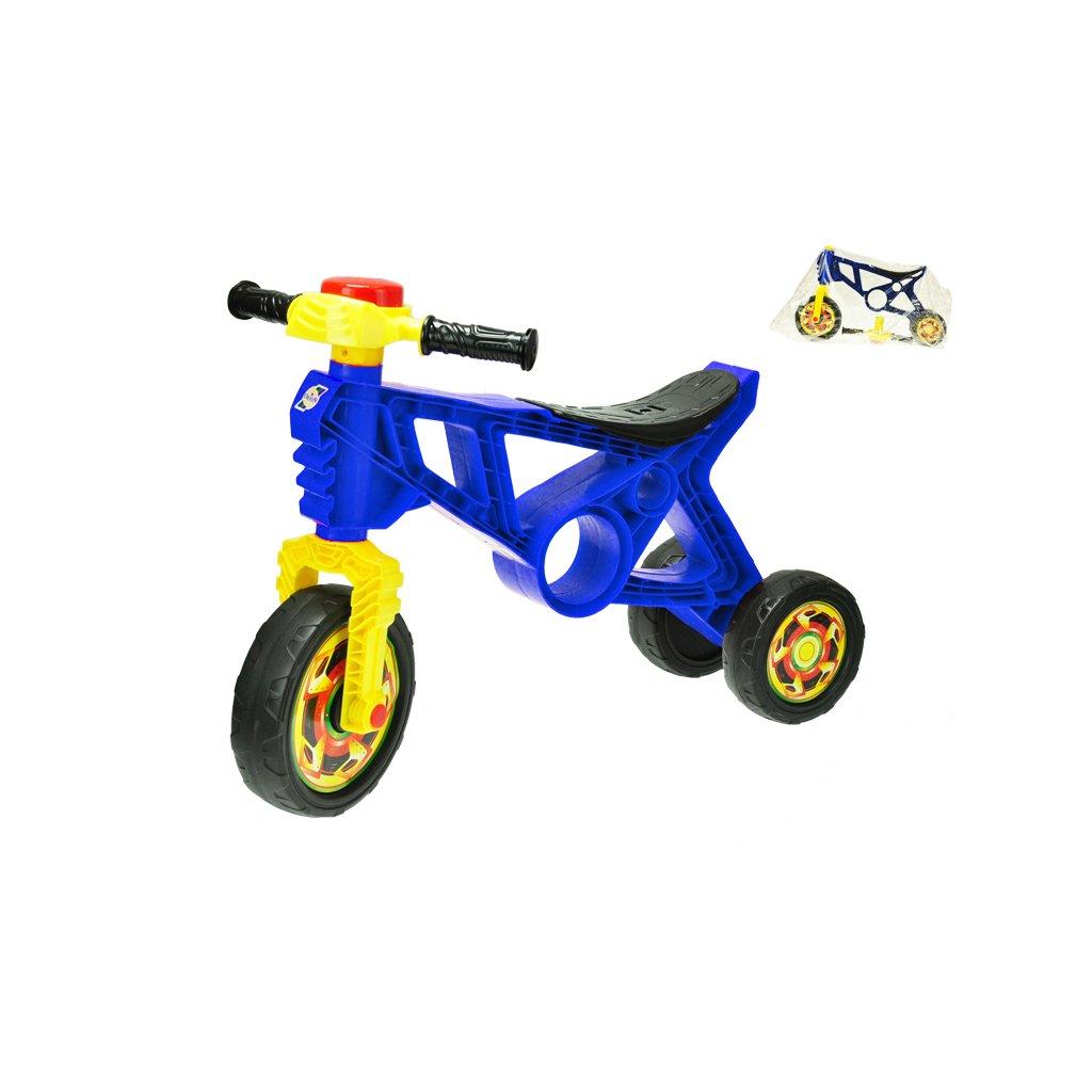 Motorka odrážadlo 60x43x19cm modrá s klaksónom max. 20kg v sáčku