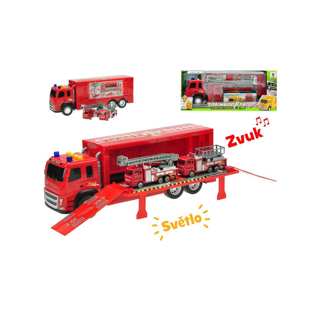Kamión 40cm na zotrvačník na batérie so svetlom a zvukom+2auta hasiči kov 12cm v krabičke