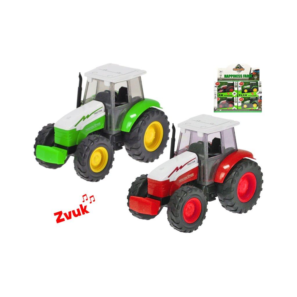 Traktor kov 14cm 1:32 na zotrvačník na batérie so zvukom 2druhy v krabičke 12ks v DBX