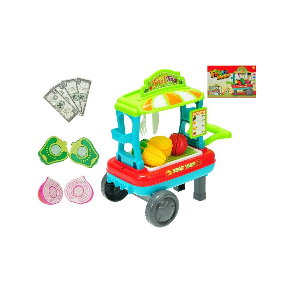 Vozík ovocie/zelenina pojazdný 23x33x20cm s doplnkami v krabičke