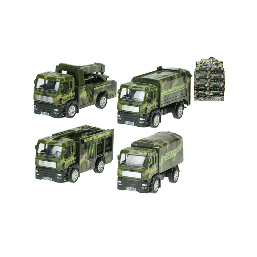 Nákladné vozidlo vojenské kov 12cm 1:55 spätný chod 4druhy v krabičke 24ks v DBX