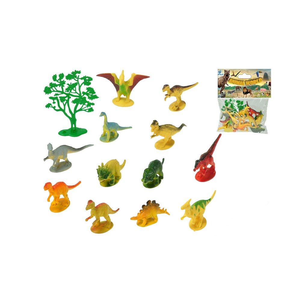 Dinosauri 6-8cm 12druhov + stromček 13ks v sáčku