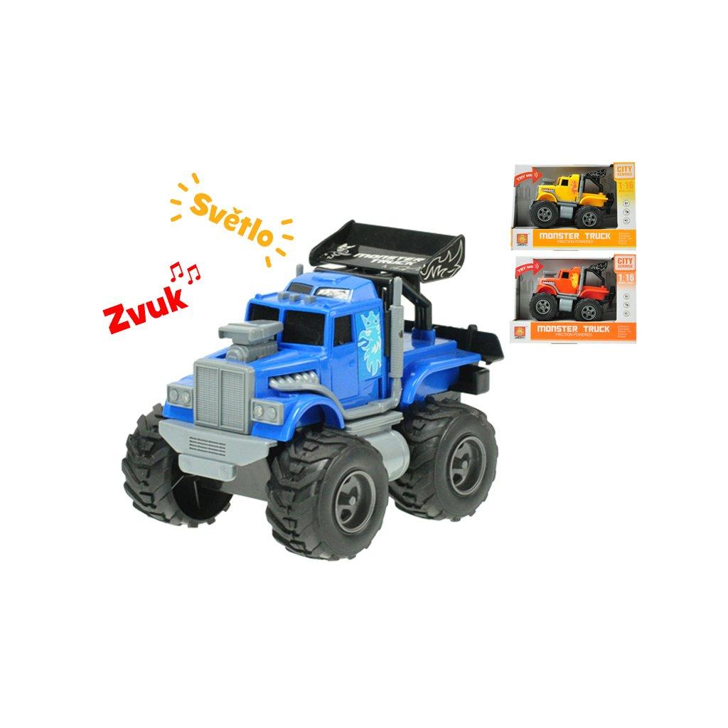 Auto monster 17cm 1:16 na zotrvačník na batérie so svetlom a zvukom 3farby v krabičke