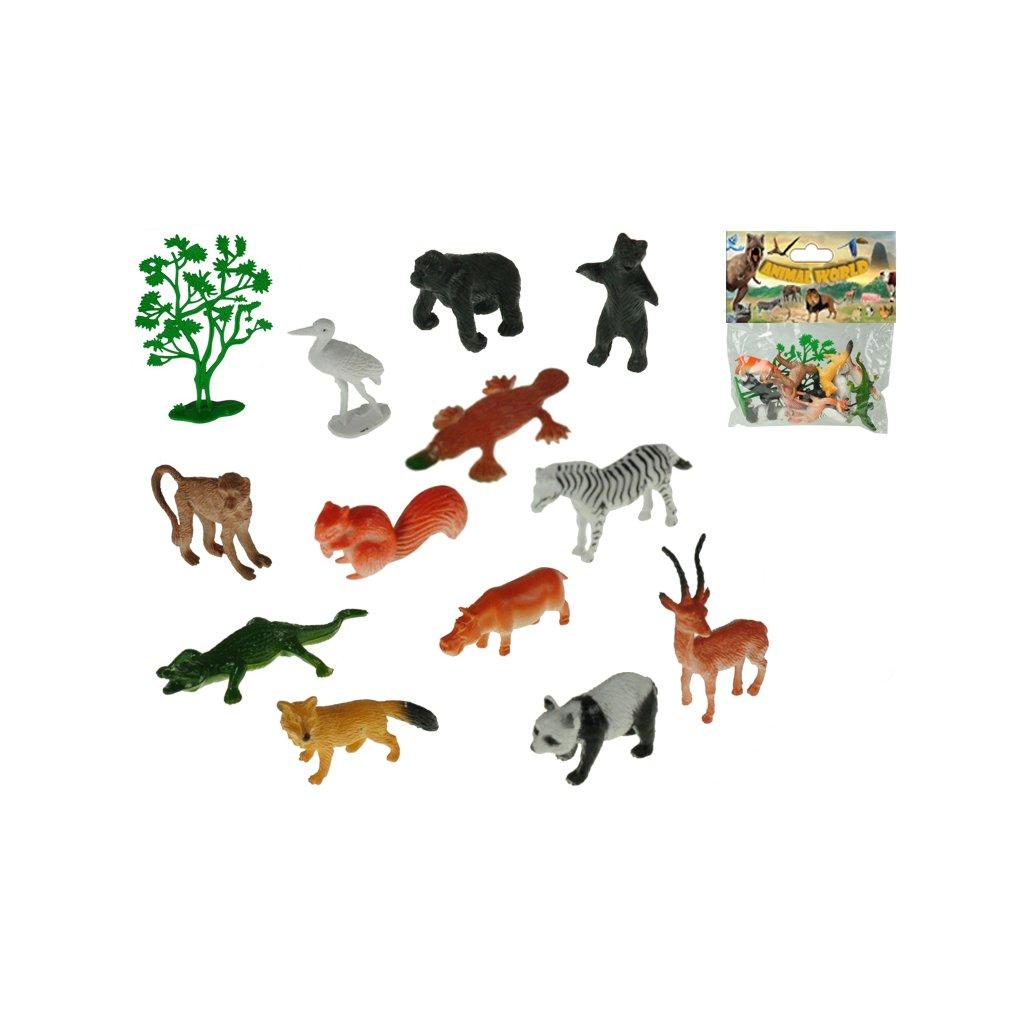 Zvieratka safari 4-8cm 12druhov + stromček 13ks v sáčku