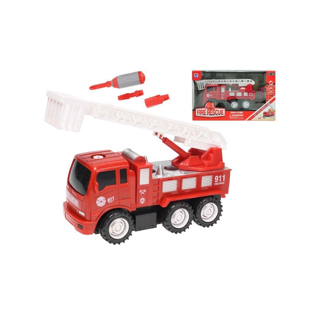 Auto hasiči 18cm skrutkovacie na zotrvačník s doplnkami v krabičke