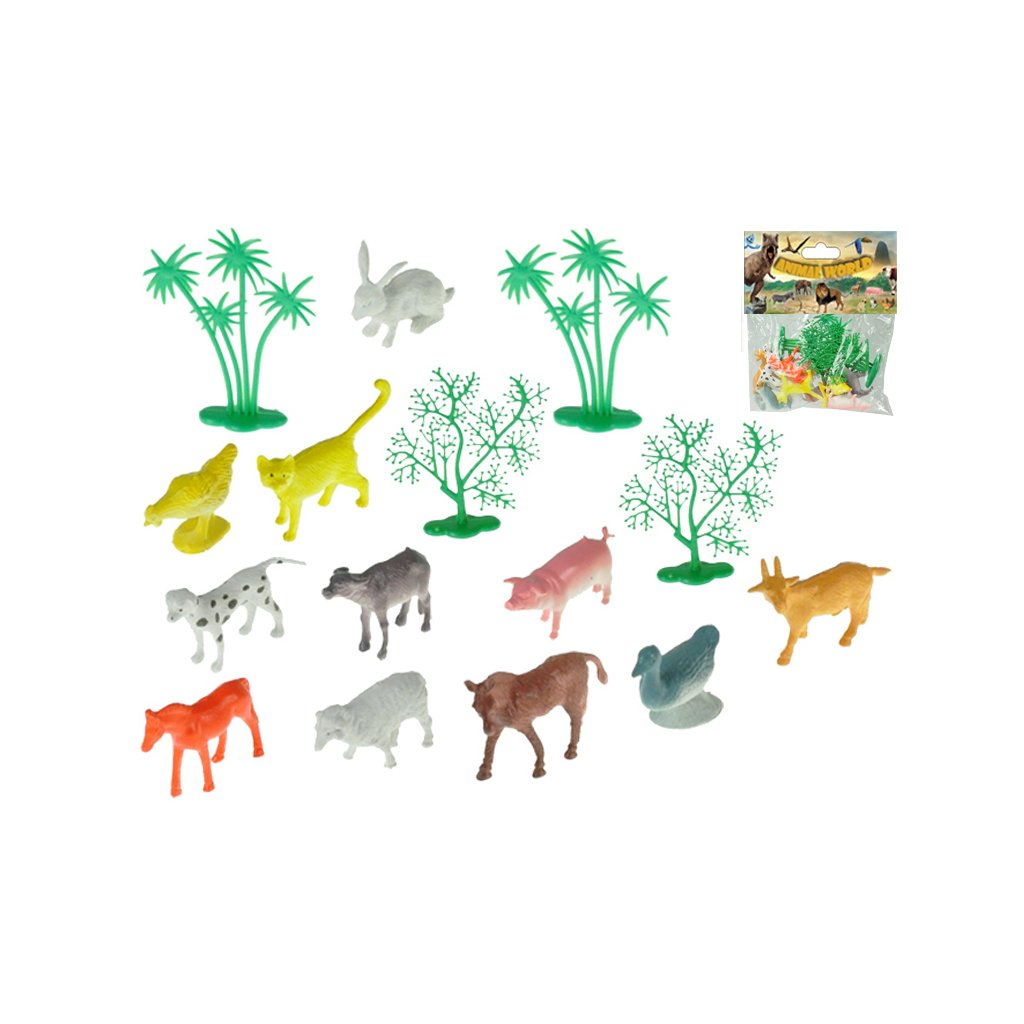 Zvieratka farma 4-6cm 12druhov + 4stromčeky 16ks v sáčku