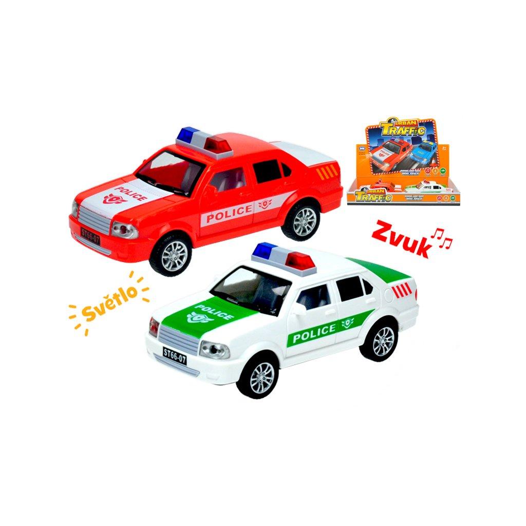 Auto polícia 17cm na zotrvačník na batérie so svetlom a zvukom 2farby 6ks v DBX