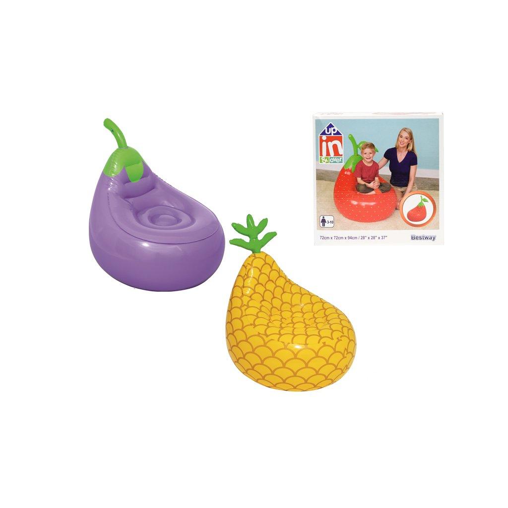 Kreslo nafukovacie ovocie 72x72x81cm 3-10rokov 3druhy v krabičke
