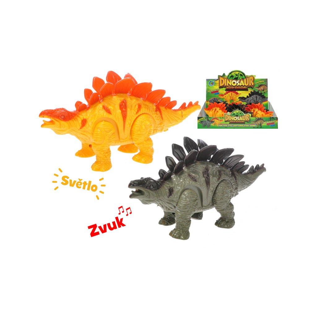 Stegosaurus chodiaci 21cm na batérie so svetlom a zvukom 2farby 6ks v DBX