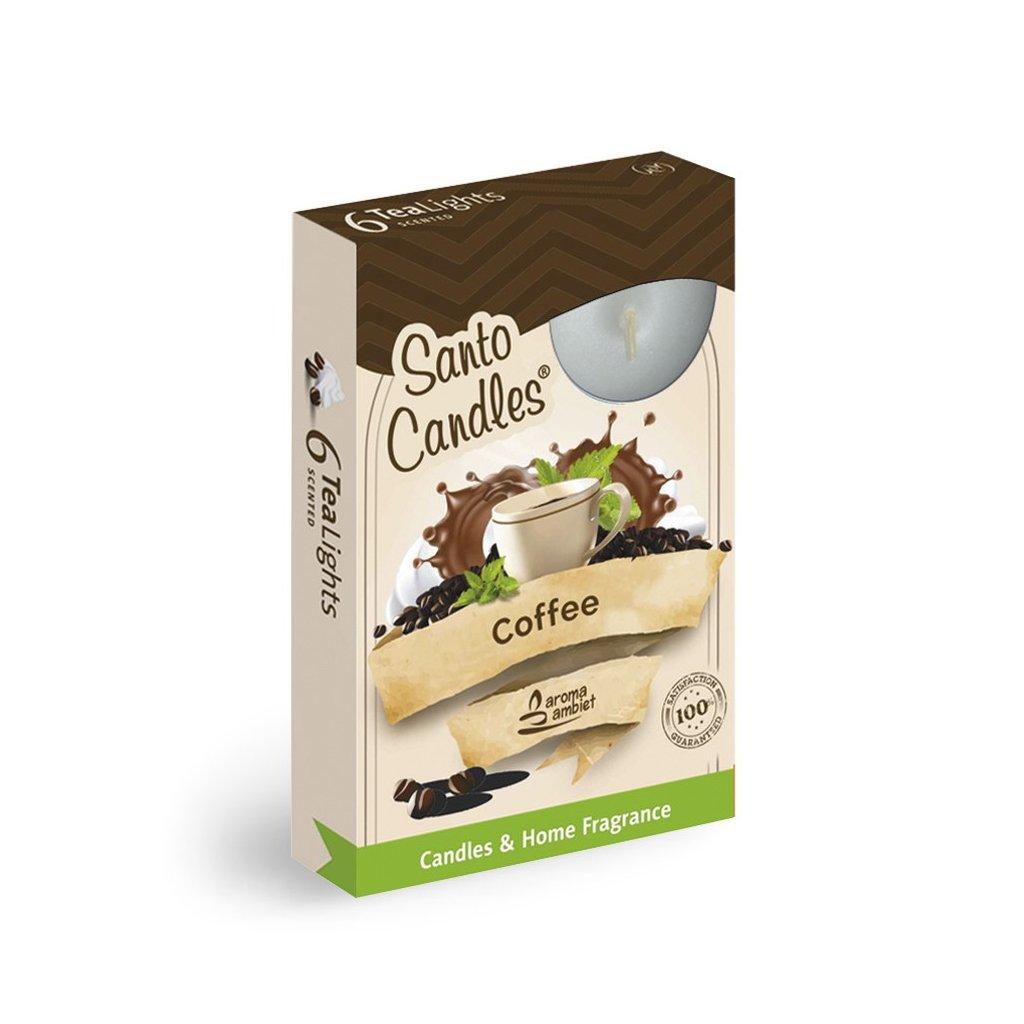 Vonne cajové sviecky 6ks kava