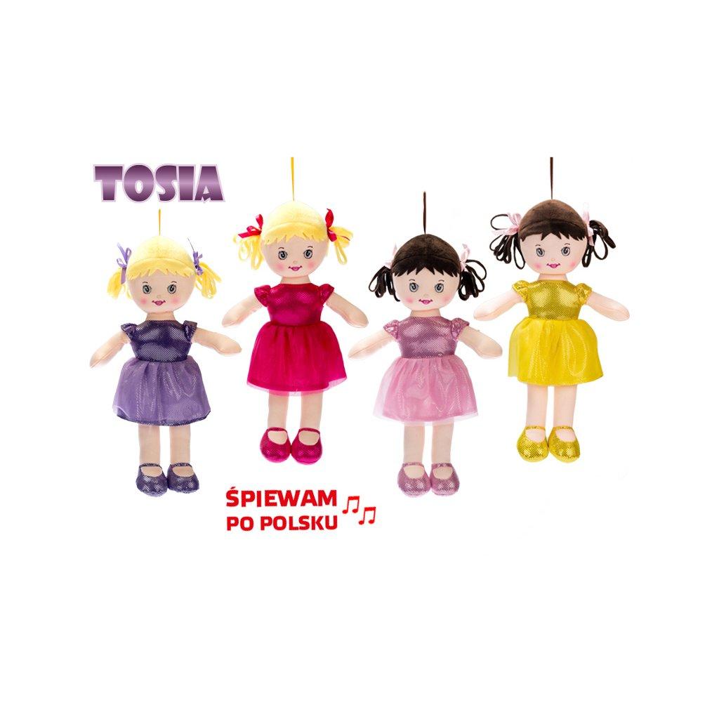 Bábika Tosia handrová 32cm na batérie polsky hovoriaca a spievajúca 4farby v sáčku