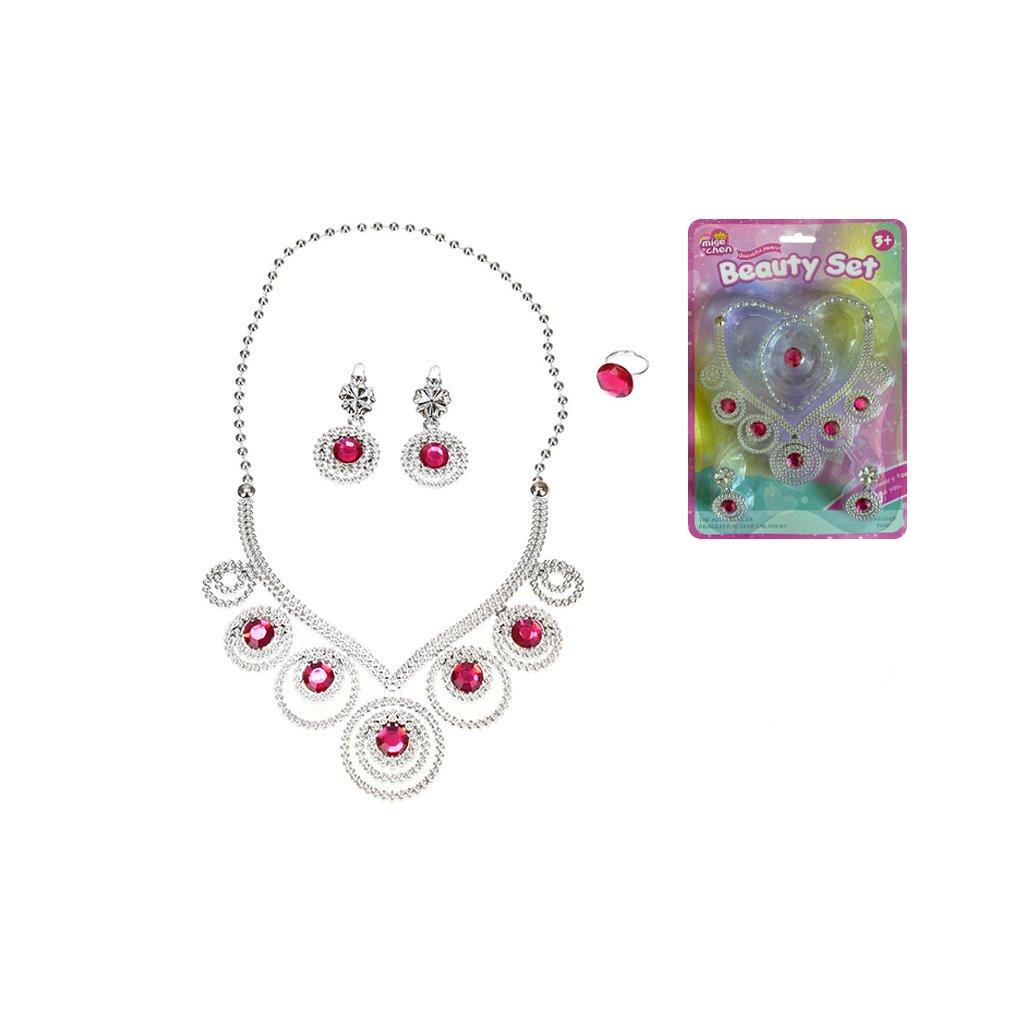 Sada krásy náhrdelník v tvare srdca s náušnicami a prsteňom na karte