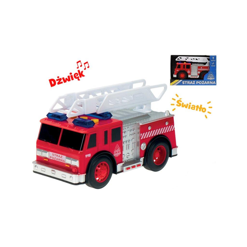 Auto hasiči poľský design 18cm na zotrvačník na batérie so svetlom a zvukom v krabičke