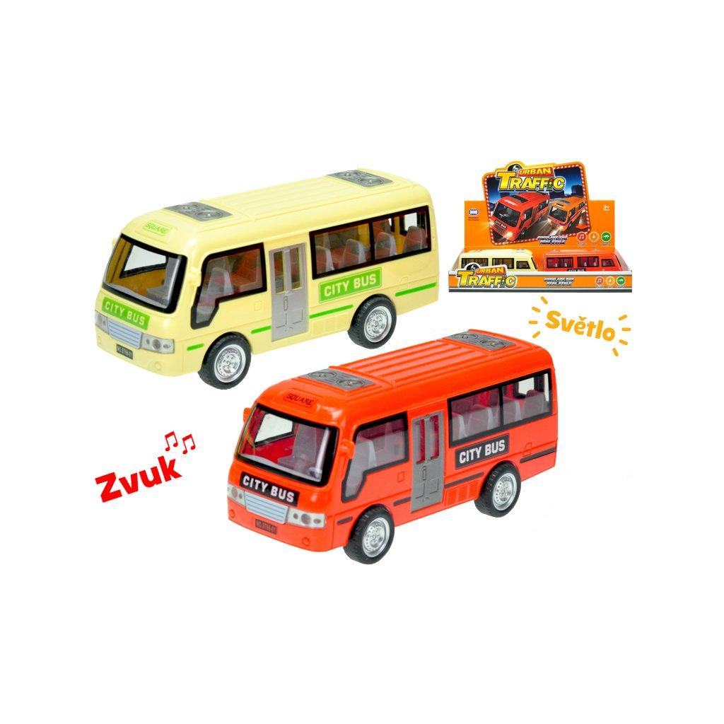 Autobus 18cm na zotrvačník na batérie so svetlom a zvukom 2farby 6ks v DBX