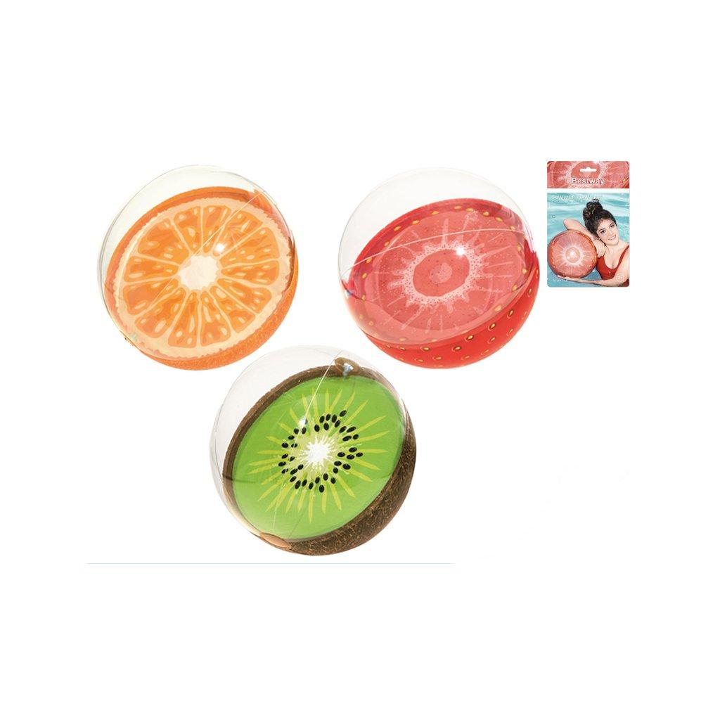 Lopta nafukovacia ovocie 46cm 3druhy 24m+ v sáčku