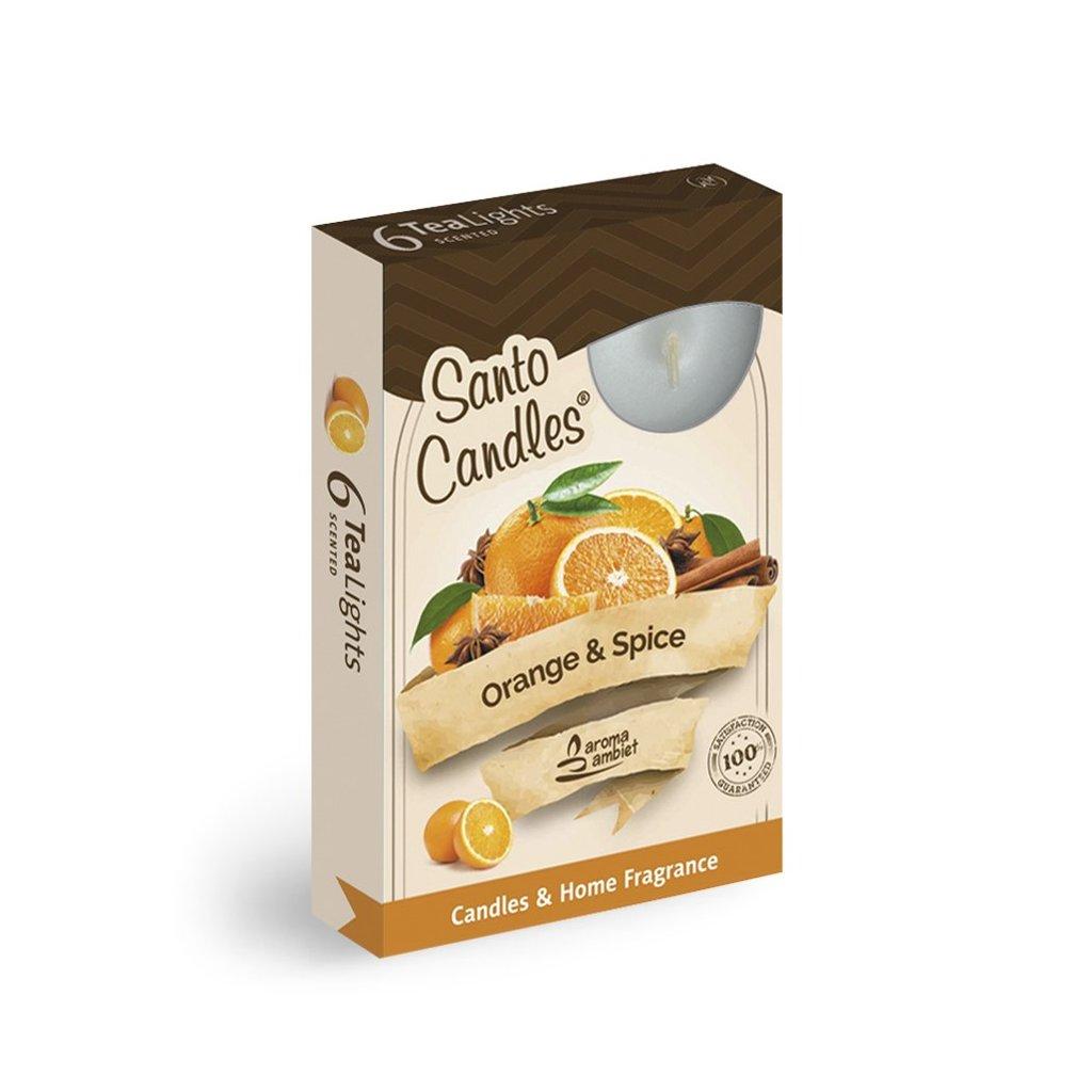 Vonne cajové sviecky 6ks pomaranc korenie