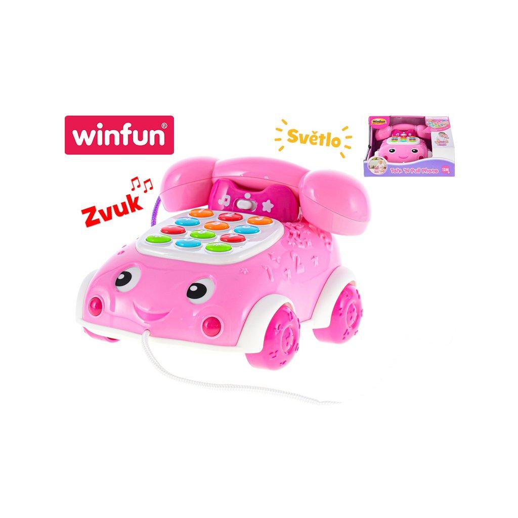 Telefónik 16cm náučný ružový 2funkcie na batérie so svetlom a zvukom 12m+ v krabičke