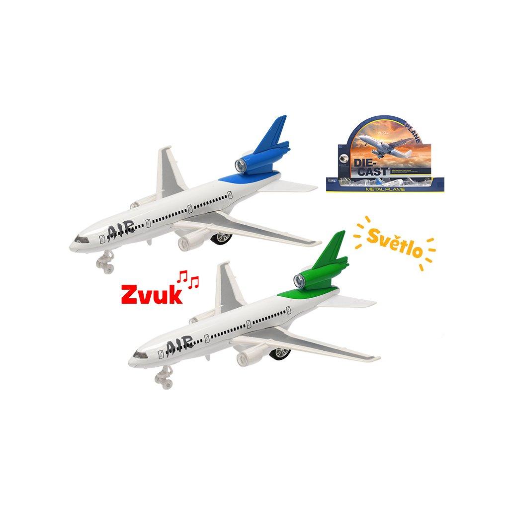 Lietadlo dopravné kov 18cm spätný chod na batérie so svetlom a zvukom 2farby 6ks v DBX