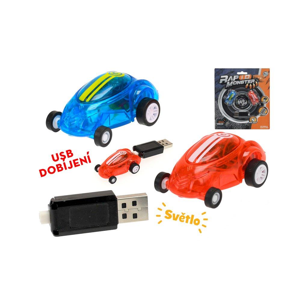 Auto závodné 2ks 4,5cm na batérii so svetlom s USB dobíjaním 6+ na karte