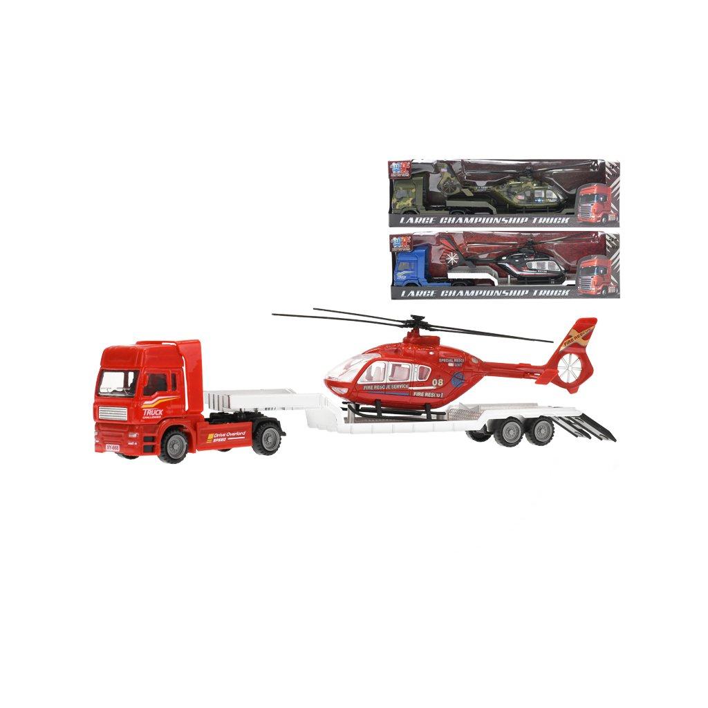 Auto nákladné kov 30cm voľný chod s vrtuľníkom 18cm 3farby v krabičke