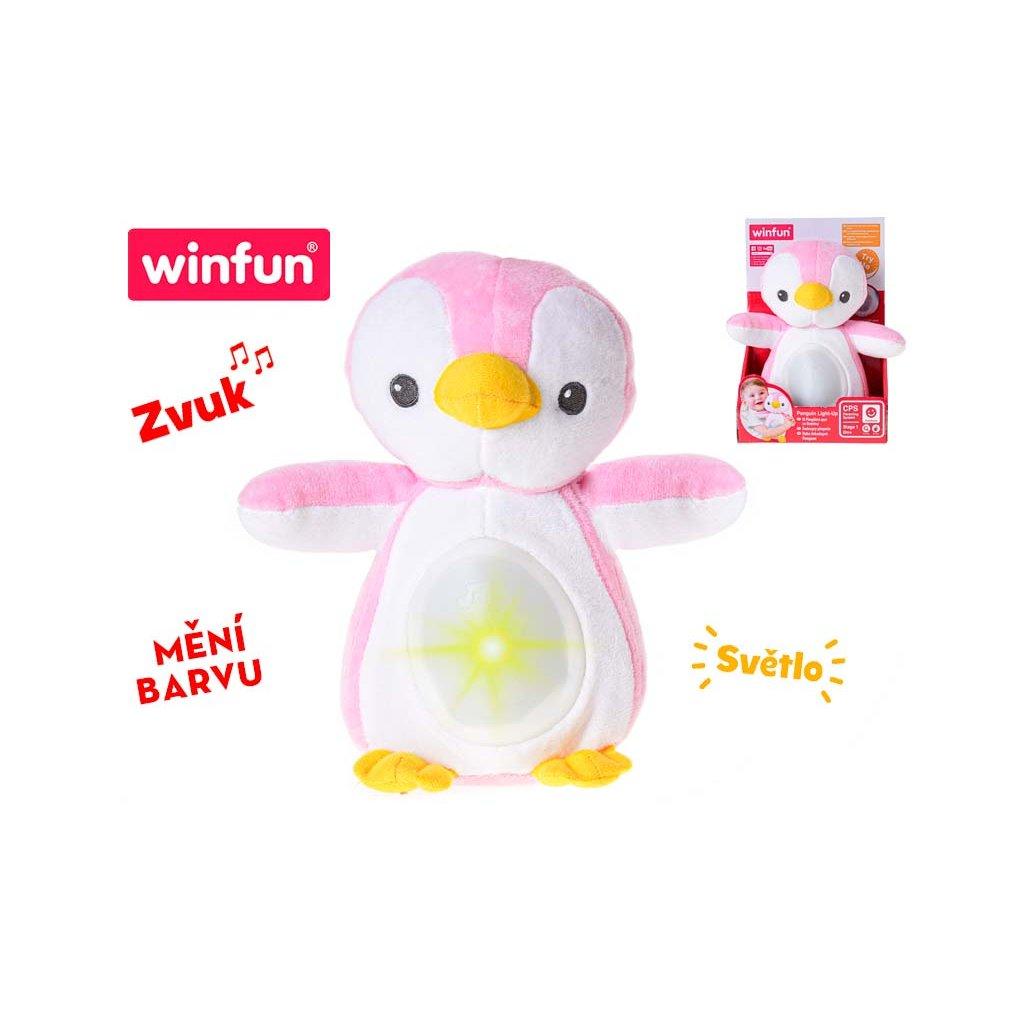 Lampička tučniak 22cm plyšový stojaci meniací farbu na batérie so svetlom a uspávankou 0+ v krabičke
