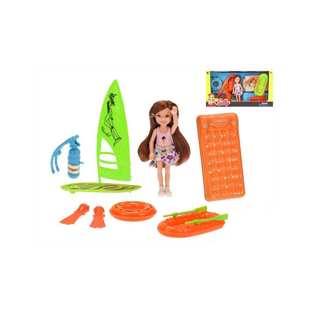 Bábika 14cm plážová s doplnkami v krabičke