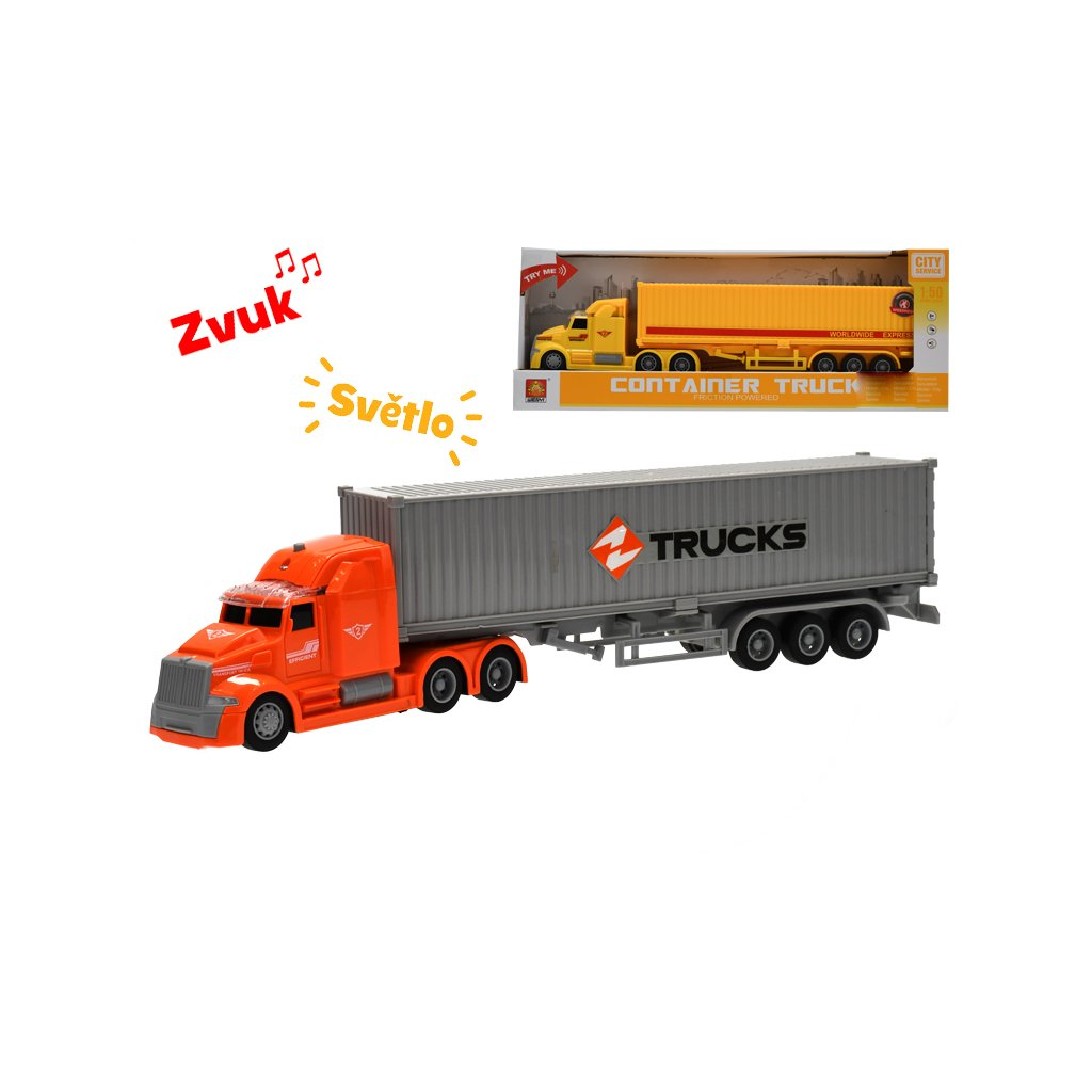 Auto nákladné 1:50 36cm na zotrvačník na batérie so svetlom a zvukom  v krabičke