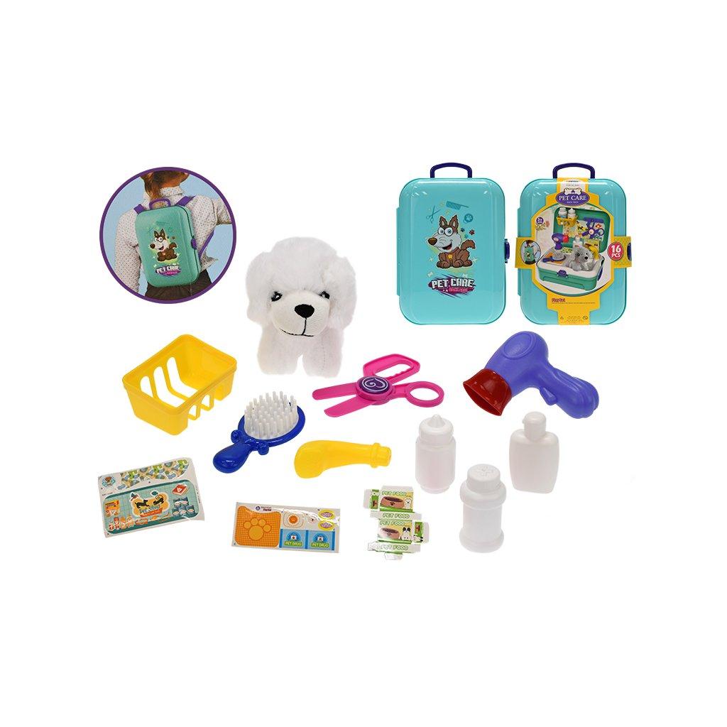 Zvierací obchod/batoh 2v1 s maznáčikom 11cm a doplnkami 16ks v kufríku