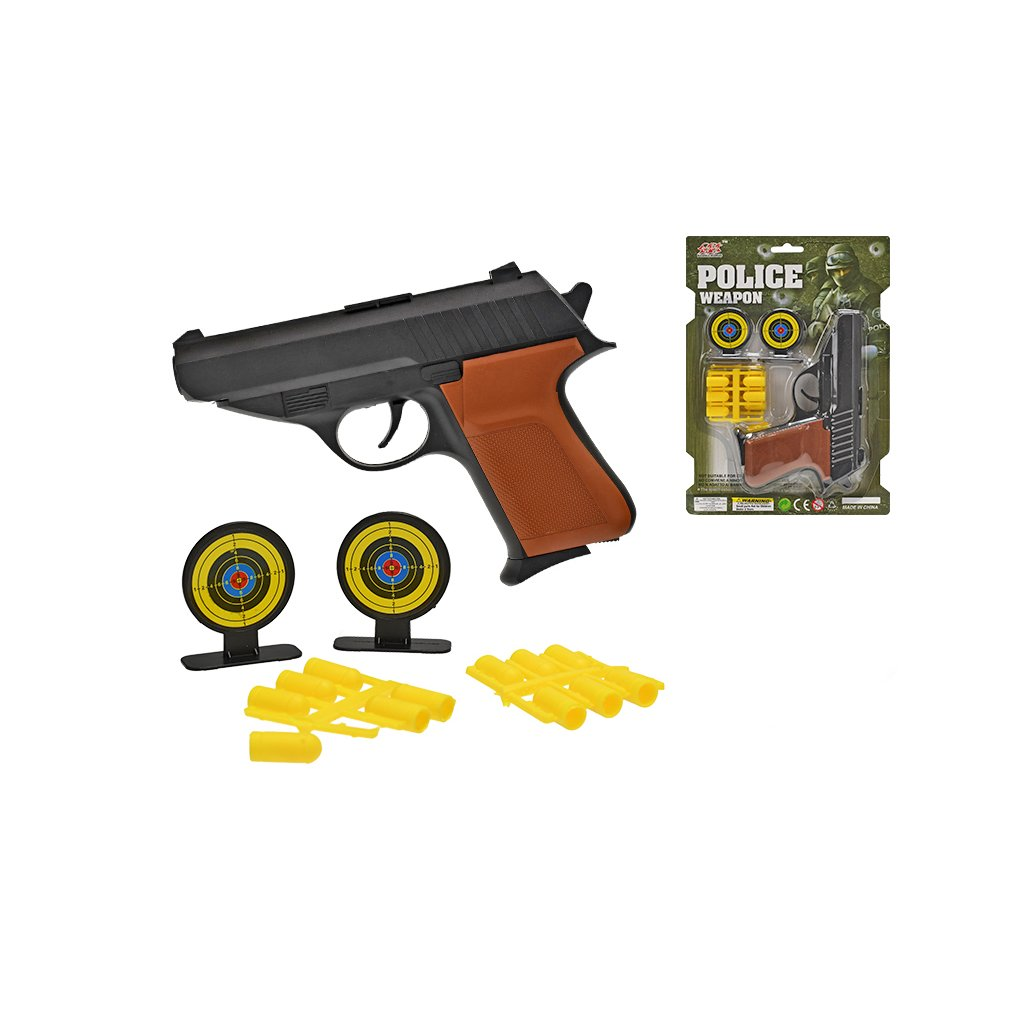 Pištol' 16cm s gumovými nábojmi a doplnkami na karte