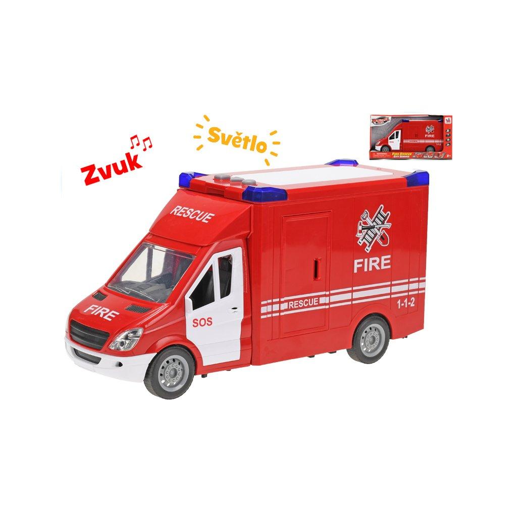 Auto hasiči 27cm na zotrvačník na batérie so svetlom a zvukom v krabičke