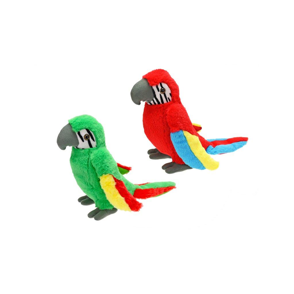 Papagáj plyšový 23cm 2farby 0m+