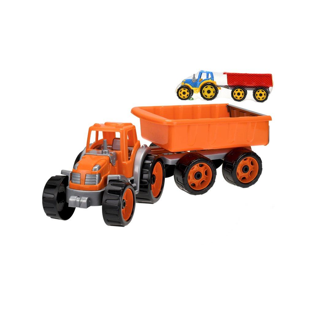 Traktor so sklápacím prívesom 54cm 2farby v sieťke