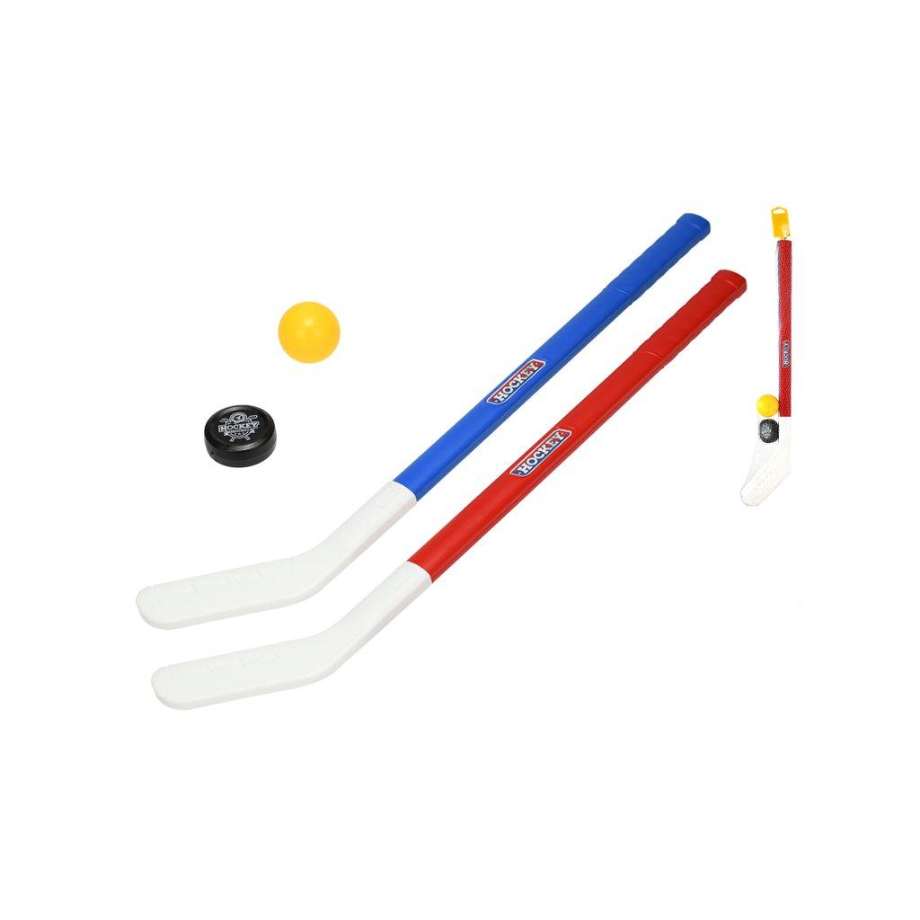 Hokejka 71cm 2ks s loptičkou a pukom v síťke