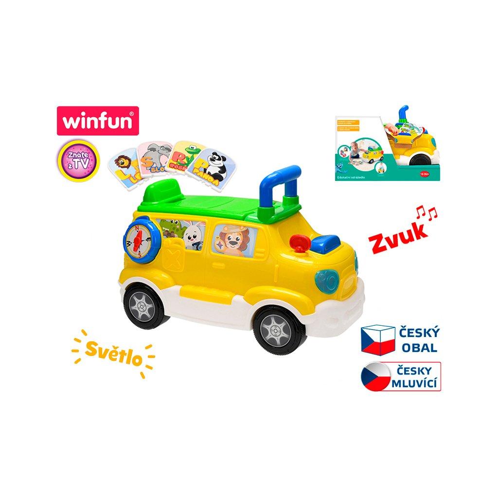 Auto edukačné/odrážadlo 42x22x30 česky hovoriaci na batérie so svetlom a zvukom 18m + v krabičke