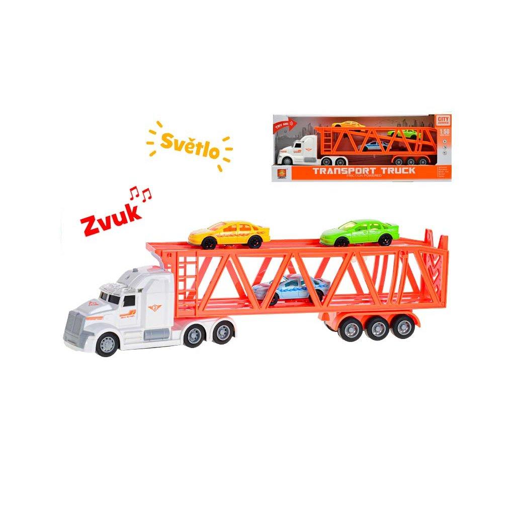 Auto nákladné 1:50 36cm na zotrvačník na batérie so svetlom a zvukom+3ks auto 7cm 2farby v krabičke