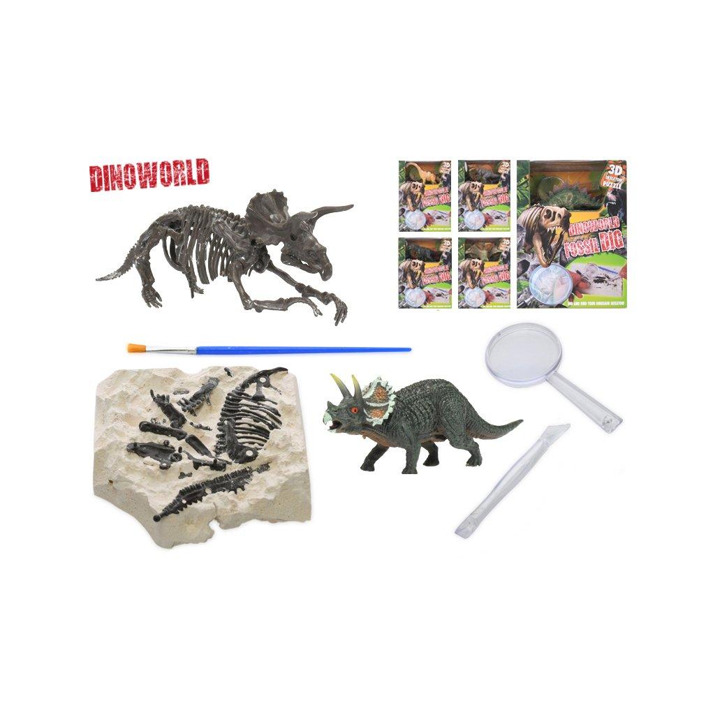 Dinosaurus 12cm a skamenelina v sadre s dlátom, lupou a štetcom 6druhov v krabičke