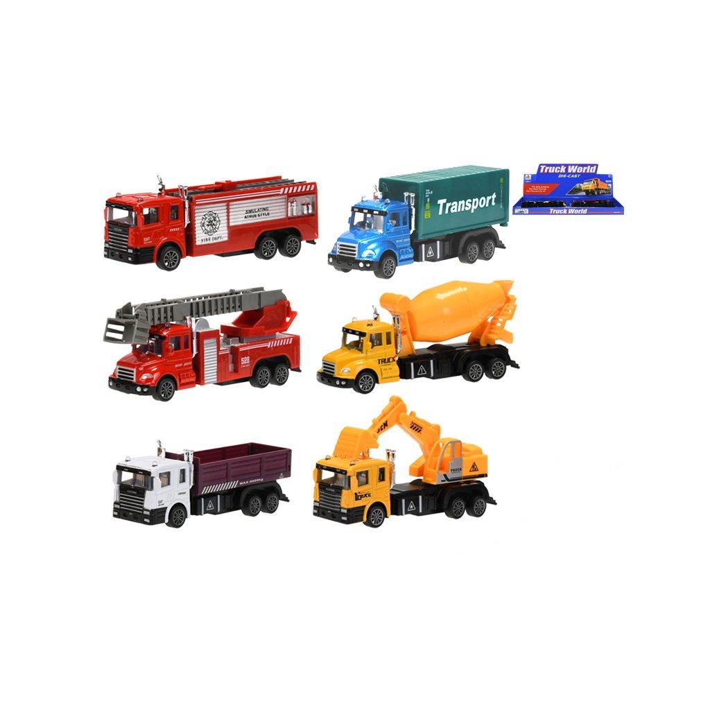 Auto nákladné kov 15-16cm na spätný chod 6druhov 6ks v DBX