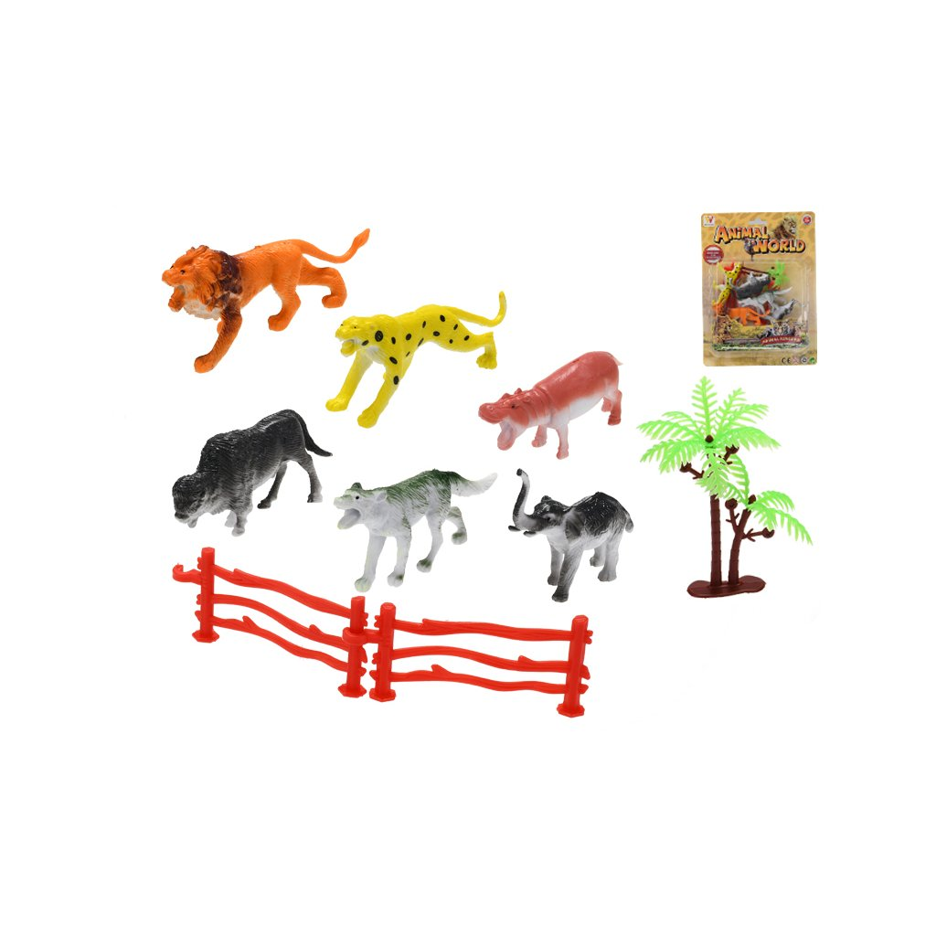 Zvieratká safari 7-9cm 5ks + 2ks ohrádky a stromček na karte