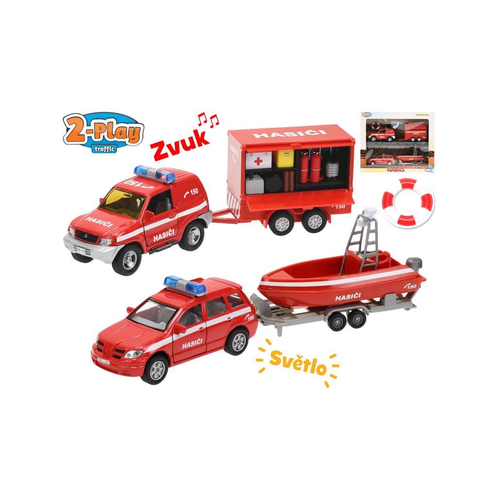 Hasičské autá 13cm kov s prívesom a vozíkom 2-Play na batérie so svetlom a zvukom v krabičke