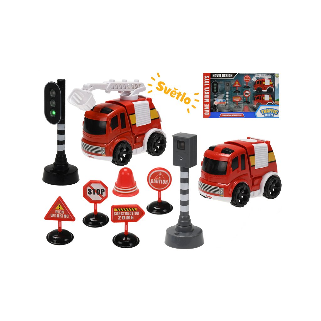 Požiarnické vozidlá 10cm na zotrvačník s doplnkami na batérie so svetlom v krabičke