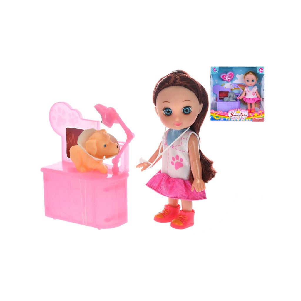 Bábika doktorka 15cm s psíkom 2farby v krabičke