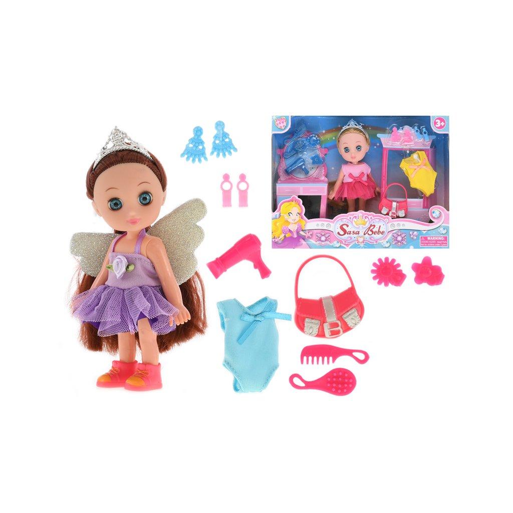 Bábika 15cm + náhradné šaty a doplnky 2farby v krabičke