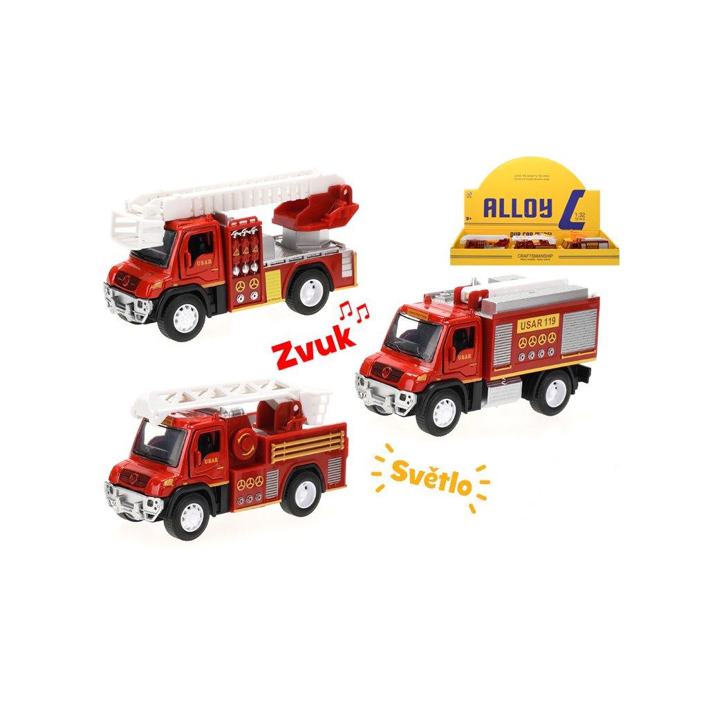 Auto hasiči kov 13cm na spätný chod na batérie so svetlom a zvukom 3druhy 12ks v DBX