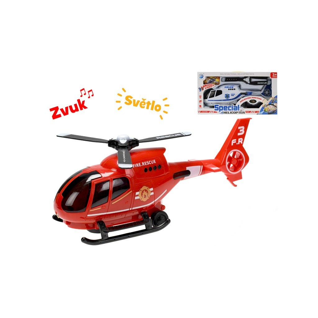 Helikoptéra 32cm narážacia na batérie so svetlom a zvukom 2druhy v krabičke